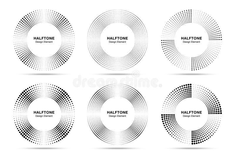 Halftone okrąg ramy abstrakt kropkuje emblemata set Halftone kółkowa ikona Round halftone kropkuje raster teksturę wektor royalty ilustracja