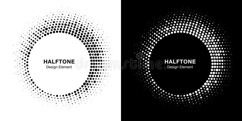 Halftone okrąg ramy emblemata projekta element Round rabatowy halftone okrąg kropkuje teksturę kresk?wki serc biegunowy setu wekt royalty ilustracja