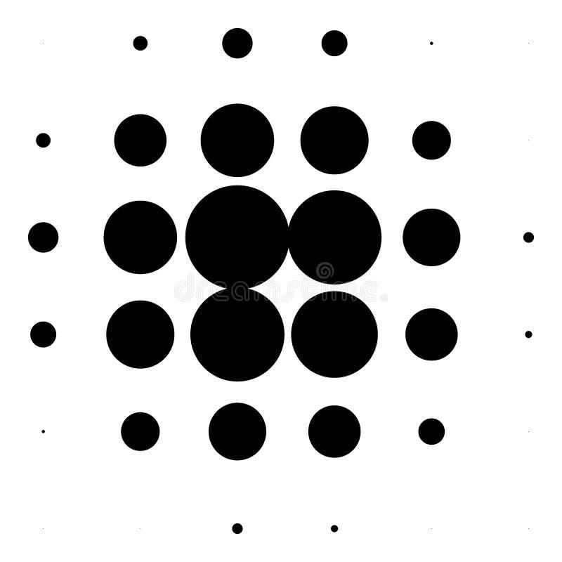 Halftone okręgi, halftone kropek wzór Monochromatyczny brzmienie royalty ilustracja