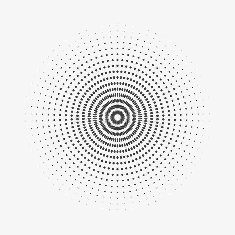 Halftone okręgu loga wektorowy symbol, ikona, projekt abstrakt kropkowana kula ziemska odizolowywająca na białym backgroun ilustracja wektor