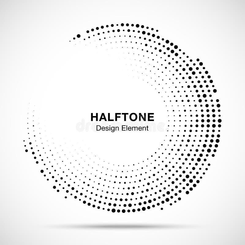 Halftone okręgu rama z czarnymi abstrakcjonistycznymi przypadkowymi kropkami, loga emblemat dla technologii, medyczny, traktowani ilustracja wektor