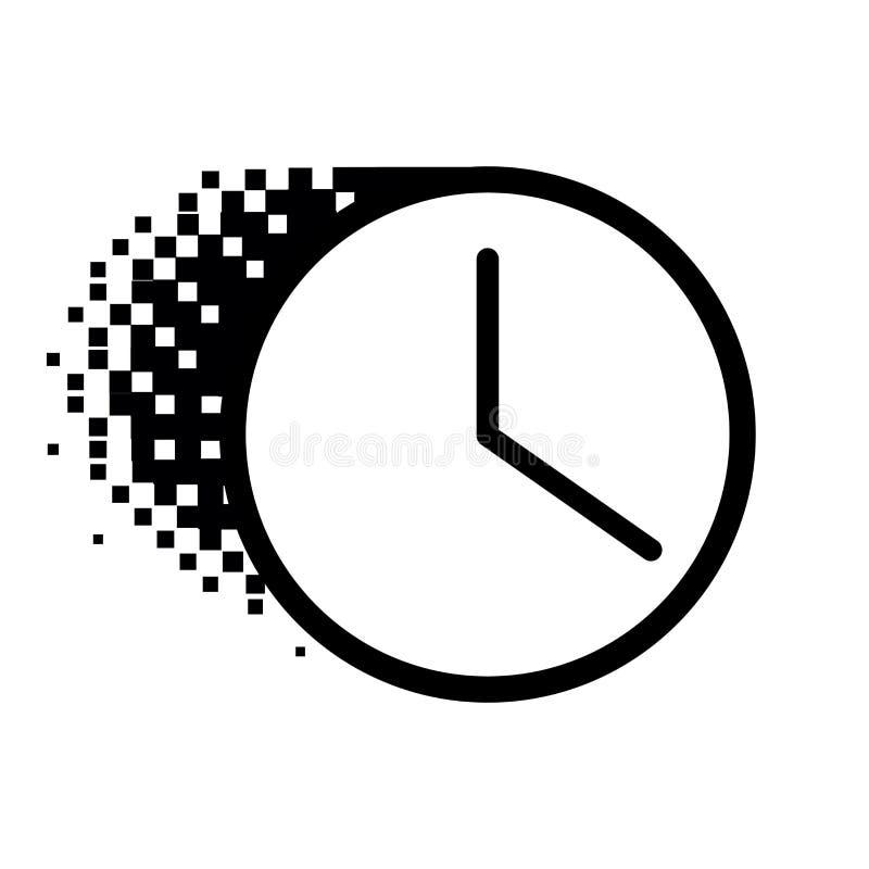 Halftone pictogram van de puntklok Vectorklokpictogram in opgeloste, gestippelde halftone Het verdwijnende effect impliceert vier stock illustratie