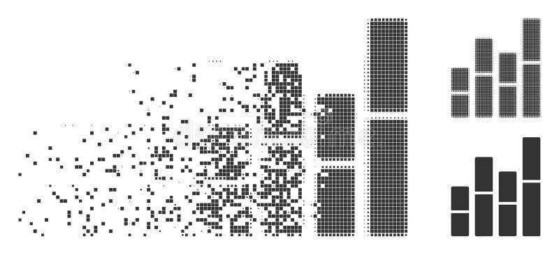 Halftone Pictogram van het Grafieken het Versplinterde Pixel stock illustratie