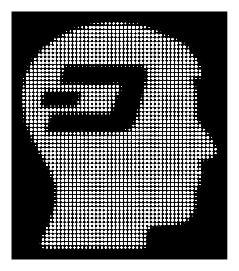 White Halftone Dash Brain Icon. Halftone pixel Dash brain icon. White pictogram with pixel geometric pattern on a black background. Vector Dash brain icon royalty free illustration
