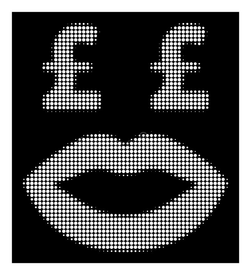 White Halftone Pound Prostitution Smiley Icon. Halftone pixel pound prostitution smiley icon. White pictogram with pixel geometric pattern on a black background royalty free illustration