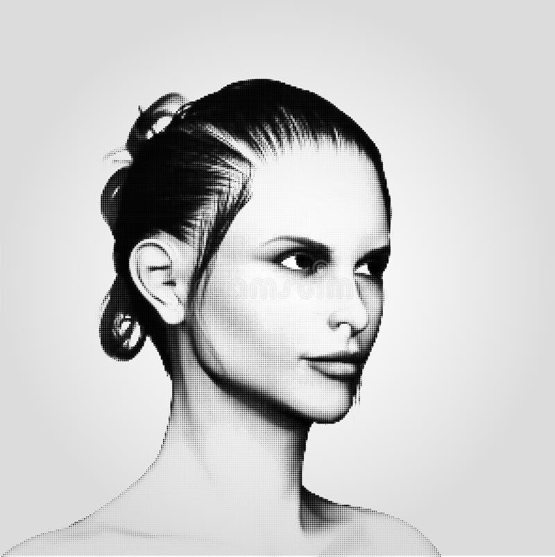 Halftone punt vrouwelijk gezicht stock illustratie