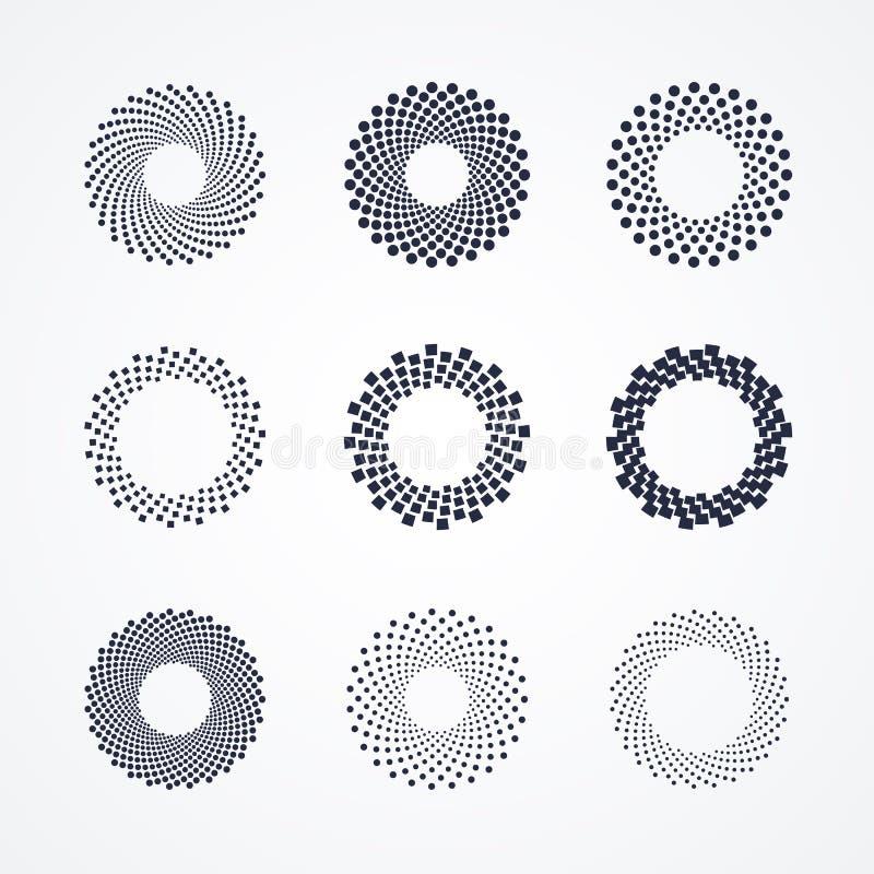 Halftone punten in cirkelvorm Het rond gestippelde element van het embleemontwerp Zwart-witte bannerdecoratie stock illustratie