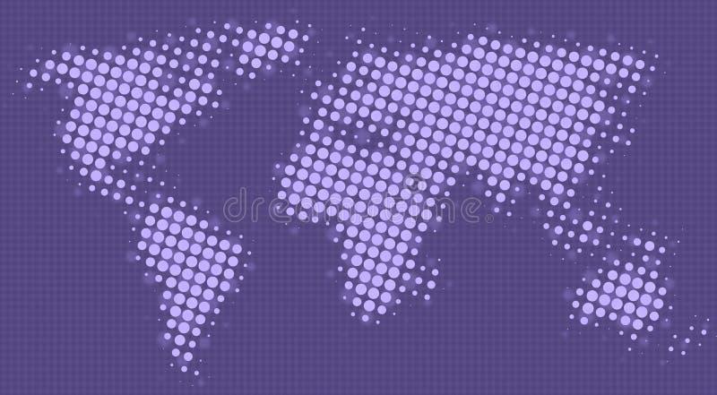 Halftone puntenkaart van de wereld stock illustratie