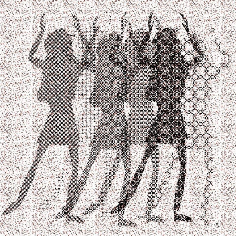 Halftone raster dancing girls