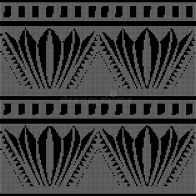Halftone round black seamless background sawtooth square triangle geometry. Can be used for both print and web page stock illustration