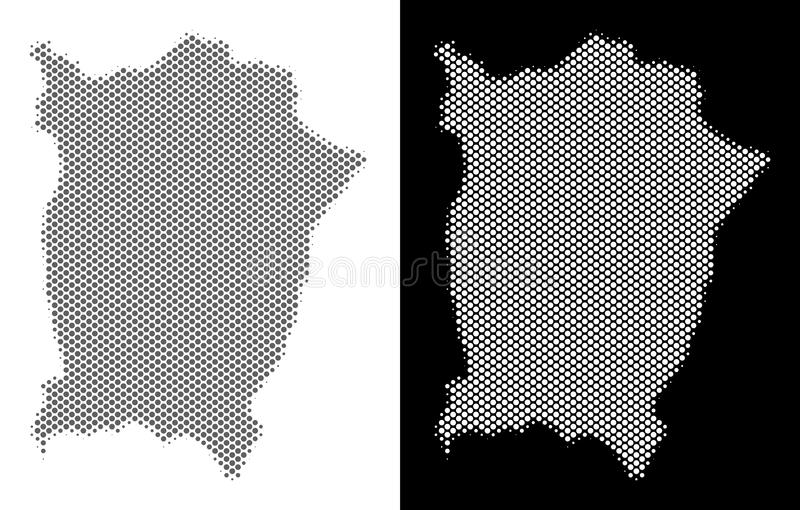 Halftone Penang Island Map. Halftone round pixel Penang Island map. Vector territory maps in gray and white colors on white and black backgrounds. Abstract royalty free illustration