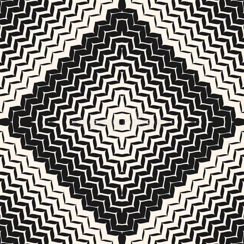 Halftone seamless pattern. Diagonal zigzag lines in square vector illustration