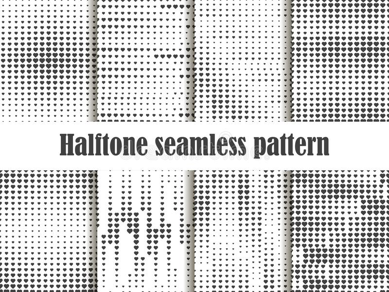Halftone seamless pattern set, dotted backdrop with heart pop art style. St. Valentine`s Day a collection of backgrounds vector illustration