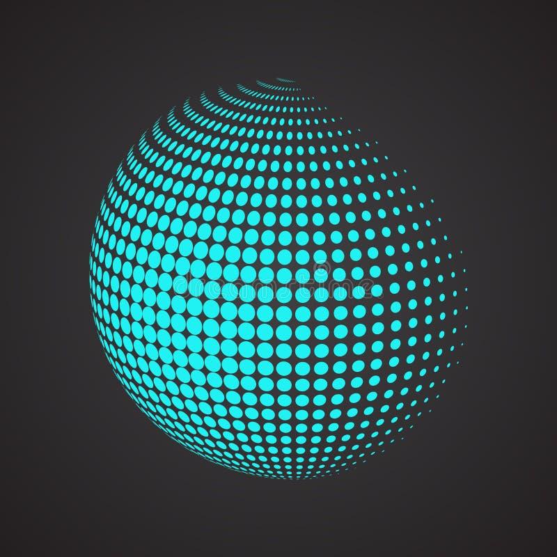 Halftone sfera Odosobniony abstrakt ziemi logo na czerni ilustracji