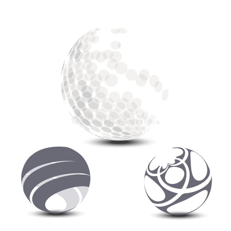 Halftone sfera z cieniem na białym tle Kule ziemskie z kropkami i lampasy dla projekta loga i sieci ilustracja wektor