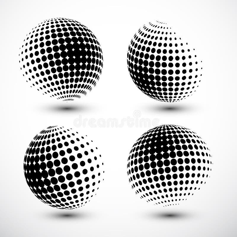 Halftone sfery Halftone projekta element Abstrakcjonistyczny kula ziemska loga szablon również zwrócić corel ilustracji wektora ilustracja wektor