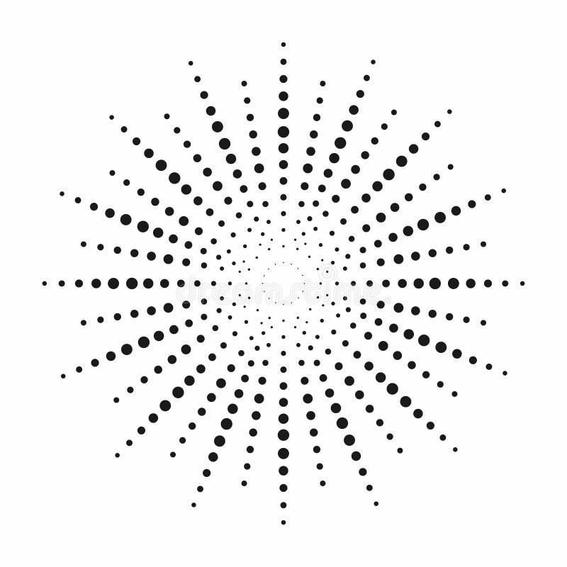 Halftone skutek Kropkowani słońce promienie Rocznika Sunburst tło ilustracja wektor