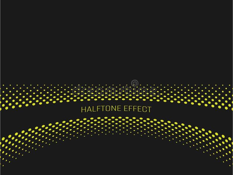 Halftone skutka tytułu pasek z żółtym tekstem na zmroku popielatym tle również zwrócić corel ilustracji wektora ilustracja wektor
