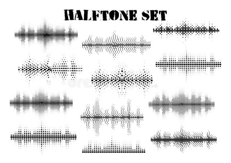 Halftone sound wave black and white patterns set.Tech music design elements isolated on white background stock images
