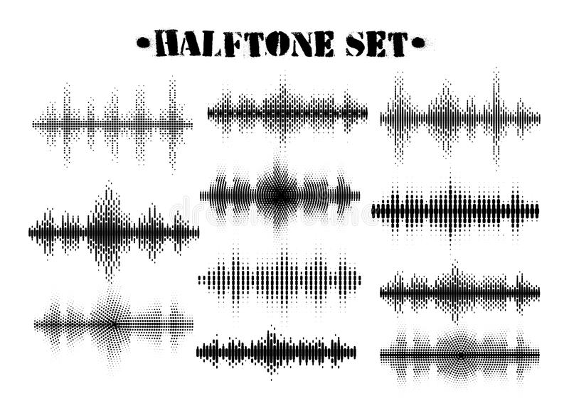 Halftone sound wave black and white patterns set.Tech music design elements isolated on white background royalty free stock photography