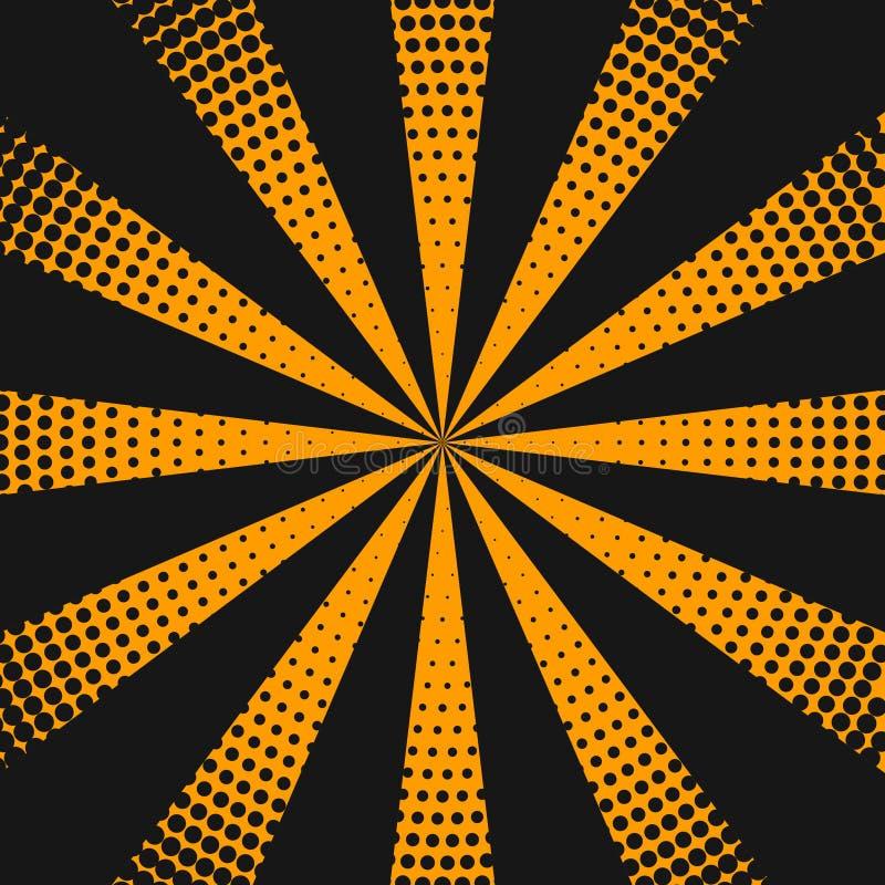 Halftone tło z pomarańczowymi promieniami ilustracja wektor