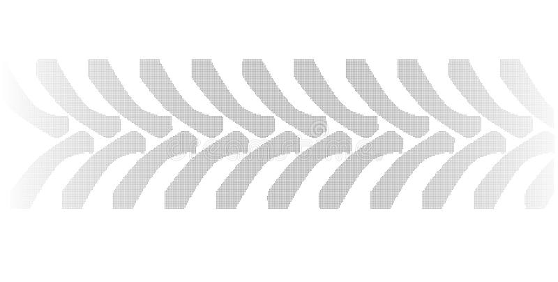 Halftone Tractor Tyre Marks On White. Halftone tractor tyre marks isolated over a white background vector illustration