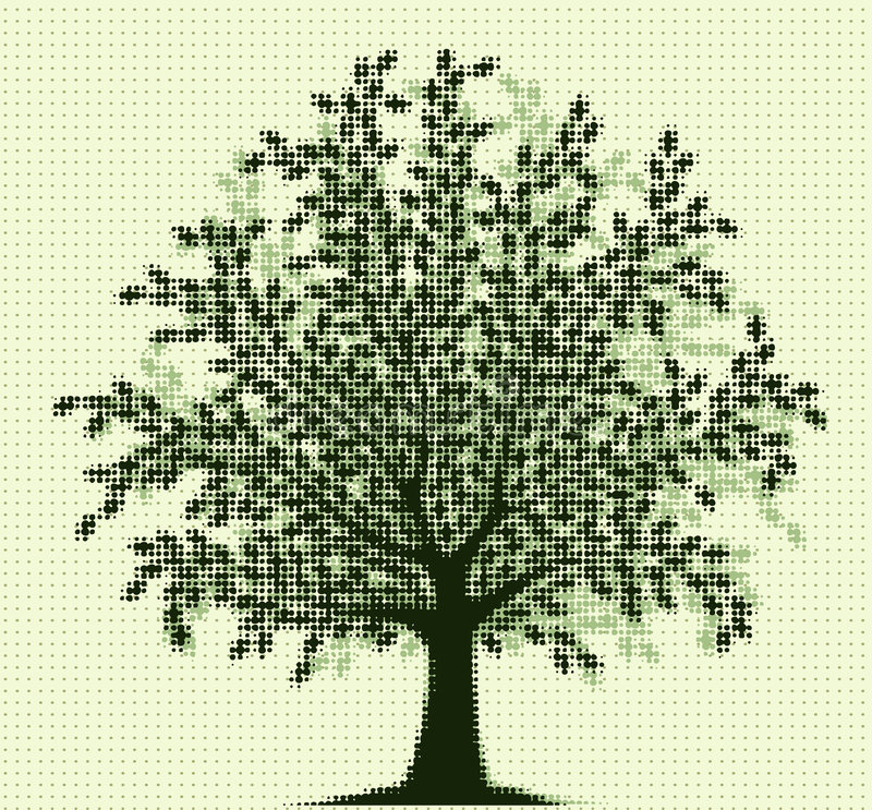 Halftone tree royalty free illustration