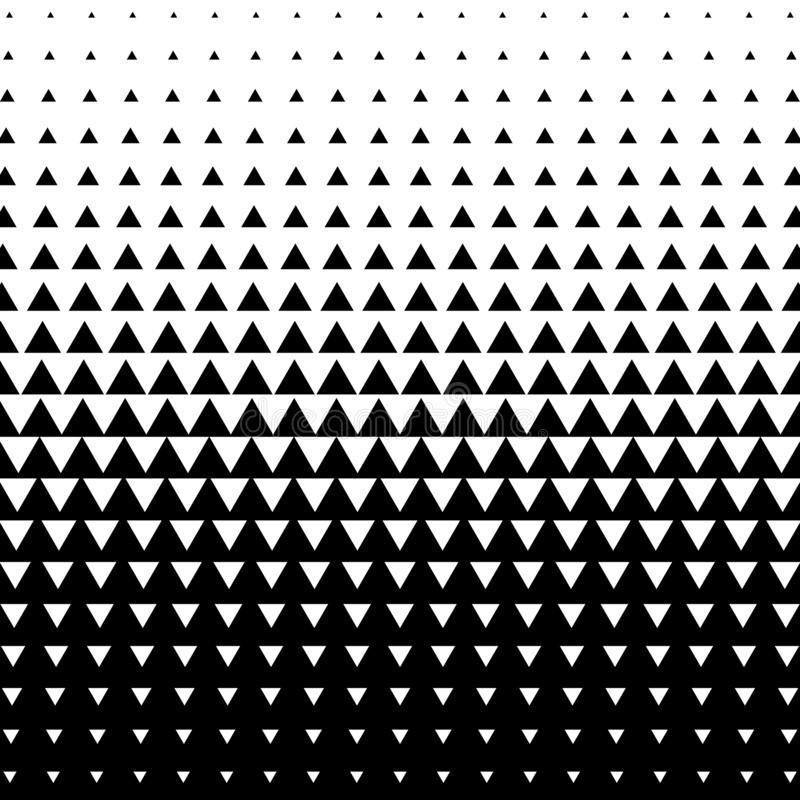Halftone triangle abstract background. Black and white vector pattern royalty free illustration
