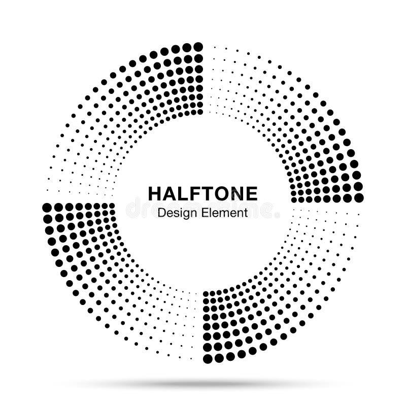 Halftone van het kader abstract punten van de muziekcirkel van het het embleemembleem het ontwerpelement Halftint cirkelpictogram vector illustratie