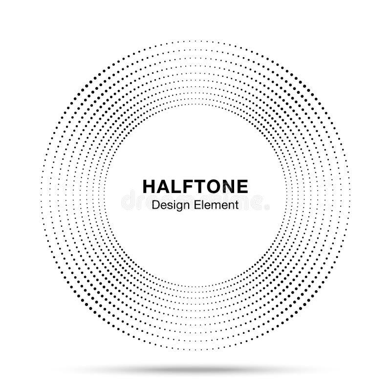 Halftone van het kader abstract punten van de muziekcirkel van het het embleemembleem het ontwerpelement Halftint cirkelpictogram stock illustratie
