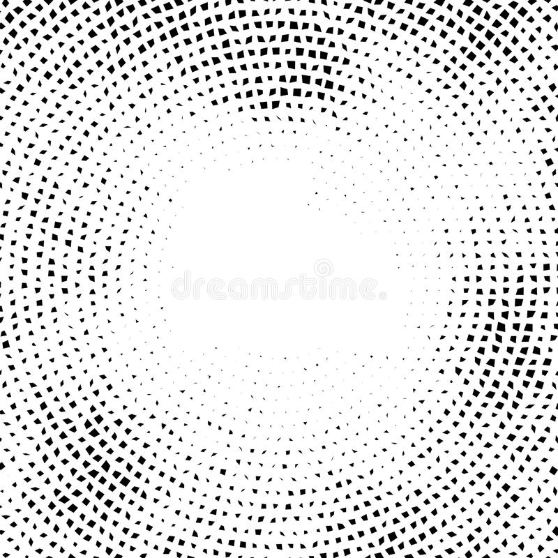 Halftone vector elemens.Halftone effect. Background concept. Vignette texture. Distorted square dots isolated on the white backgr stock illustration