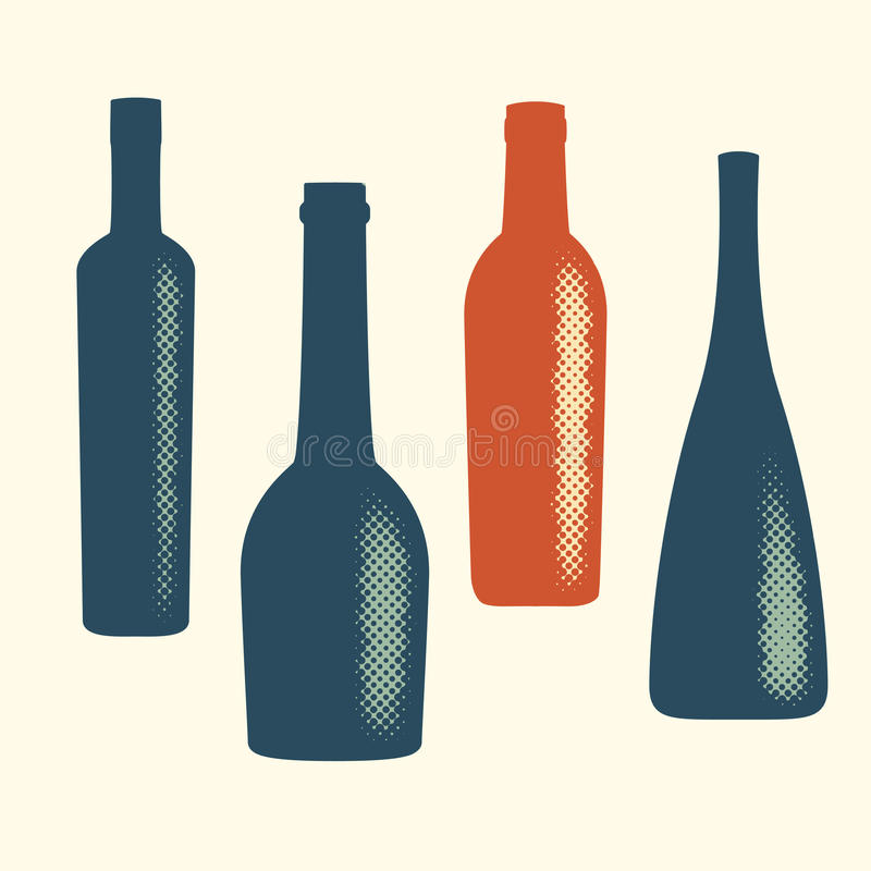 Halftone vector wine bottle elements. Abstract digital blob (dotted design series royalty free illustration