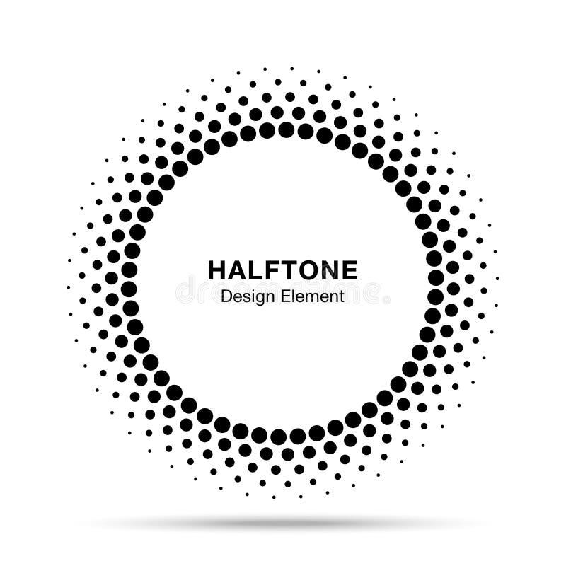 Halftone vectorcirkelkader stippelt embleemembleem, ontwerpelement voor medisch, behandeling, schoonheidsmiddel stock illustratie