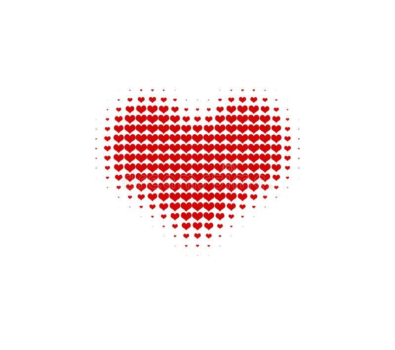 Halftone vectorhart Harten in hart Rood hart stock illustratie