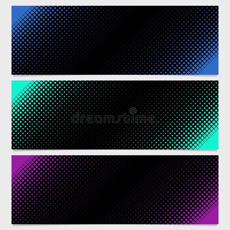 Halftone vierkante het malplaatjeontwerp van de patroonbanner plaatste - vectorillustratie van diagonale vierkanten vector illustratie