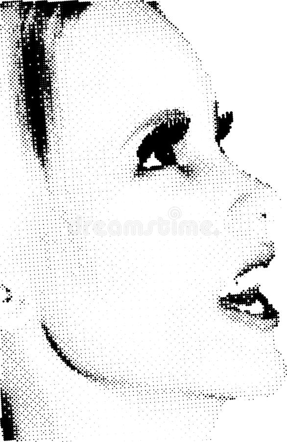 Halftone vrouwelijk gezicht stock illustratie