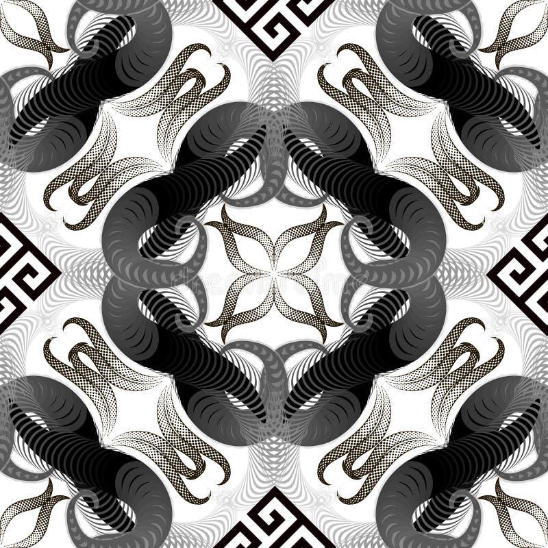 Halftone w zawiły sposób wektorowego grka stylu bezszwowy wzór Kropkowana połówka - tonuje fractal, geometryczni kształty, linie, ilustracji