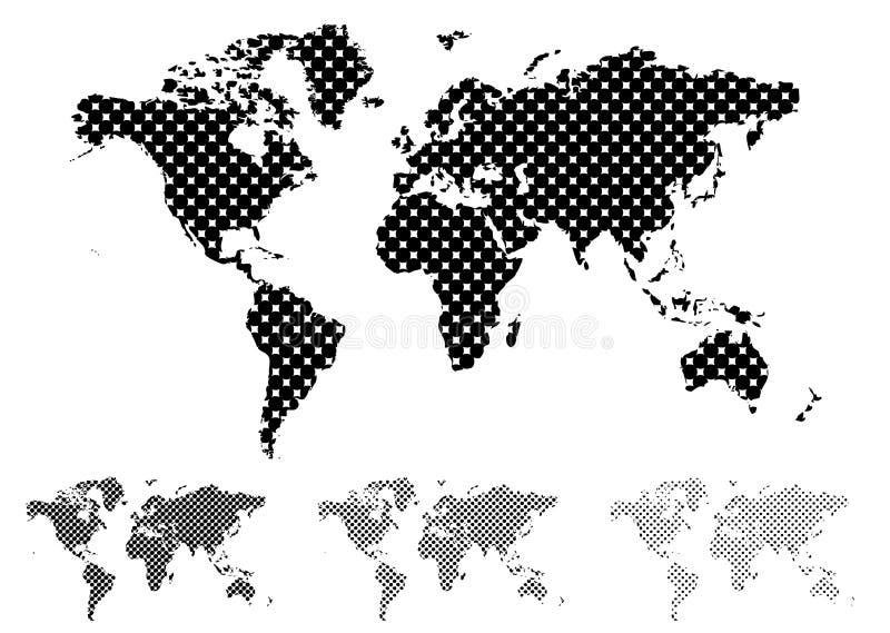 Halftone wereldkaart royalty-vrije illustratie