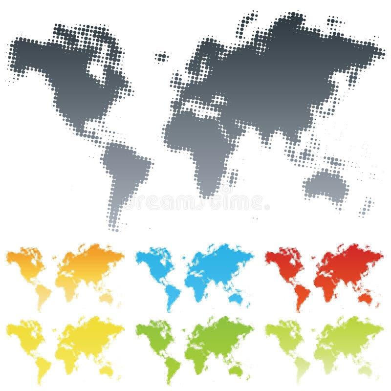 Halftone wereldkaart stock afbeeldingen