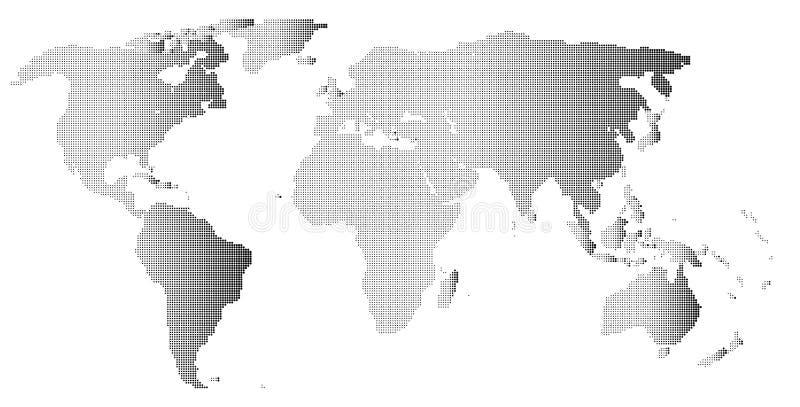 Halftone Wereldoverzicht op Witte Achtergrond royalty-vrije illustratie