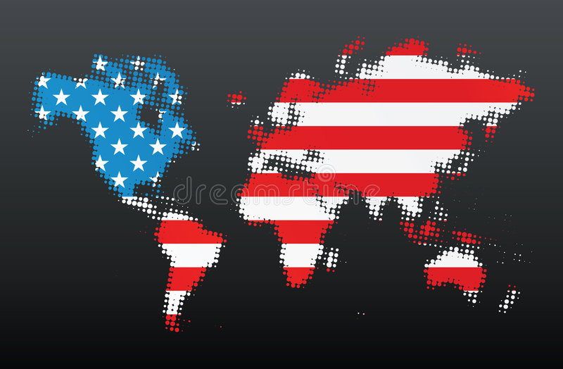 Halftone world map with US concept. Vector illustration of a modern popular halftone design made from the map of the world. American flag concept vector illustration