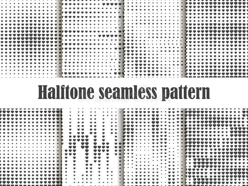 Halftone wzoru bezszwowy set, kropkowany tło z kierowym wystrzał sztuki stylem St walentynki ` s dzień kolekcja tła ilustracja wektor