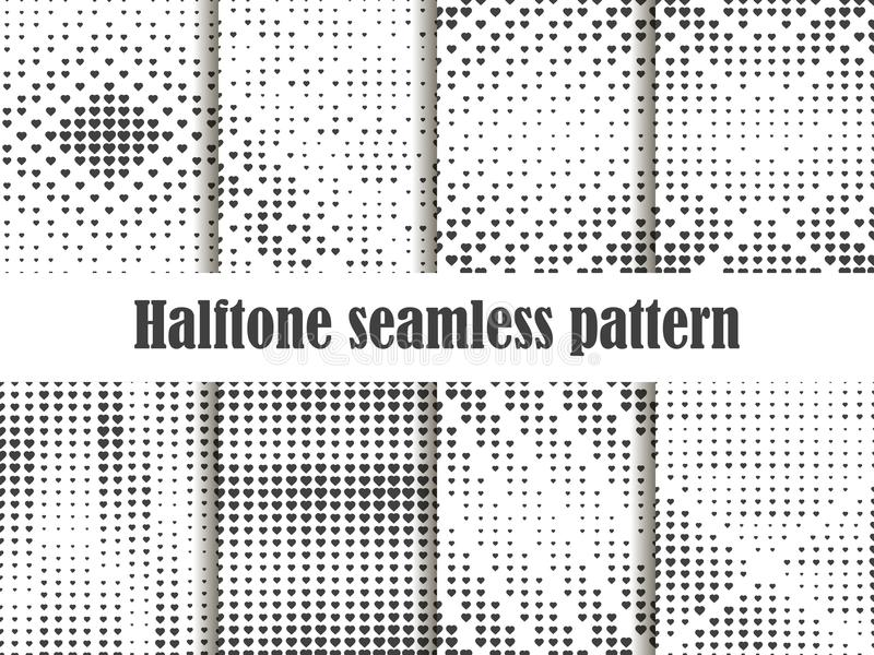 Halftone wzoru bezszwowy set, kropkowany tło z kierowym wystrzał sztuki stylem St walentynki ` s dzień kolekcja tła ilustracji