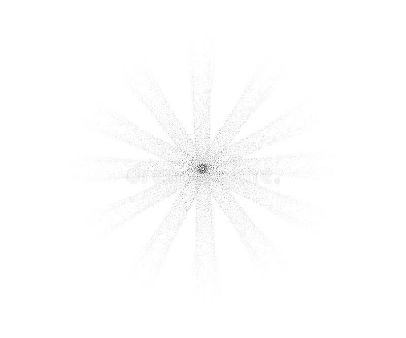 Halftone zon Gravure vectorzon met verspreidende stralen van punten Halftone stralen van de zon van punten vector illustratie