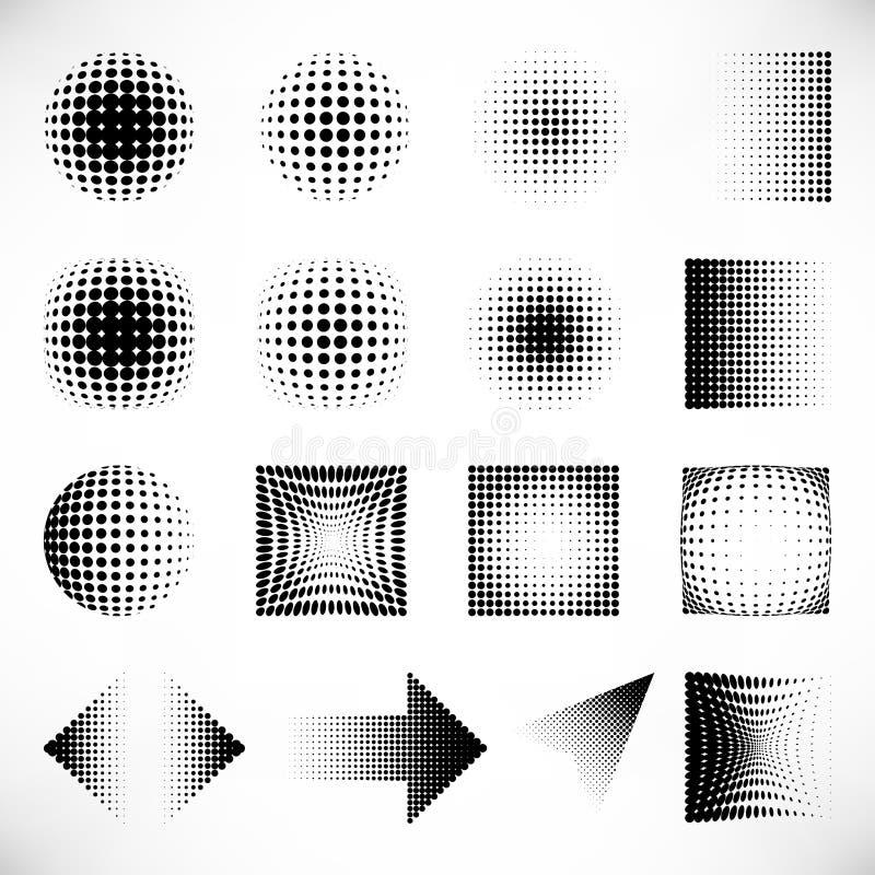 Halftone zwarte geplaatste puntenelementen vector illustratie