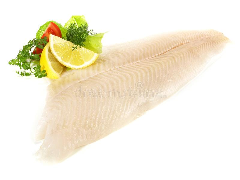 Halibut Fish Fillet. On white Background royalty free stock photos