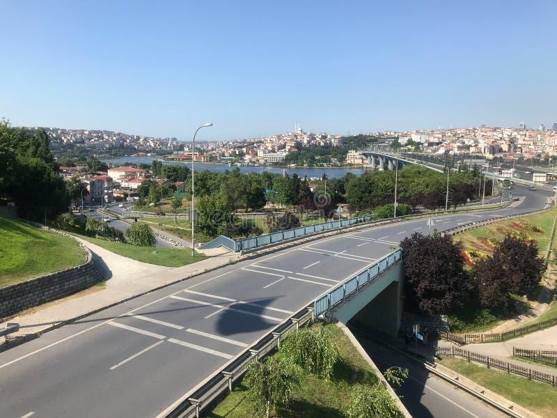 Halic från Ayvansaray, Istanbul, Turkiet - JUNI 2019 arkivbild