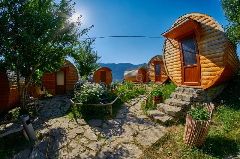 HALIDZOR, ARMENIA - 03 AUGUST 2017: Harsnadzor Eco Resort cottages royalty free stock photo