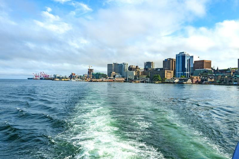Halifax, Canada. July 3, 2017: View of Halifax Harbor and Halifax downtown from the harbor ferry. Halifax, Nova Scotia, Canada royalty free stock photos