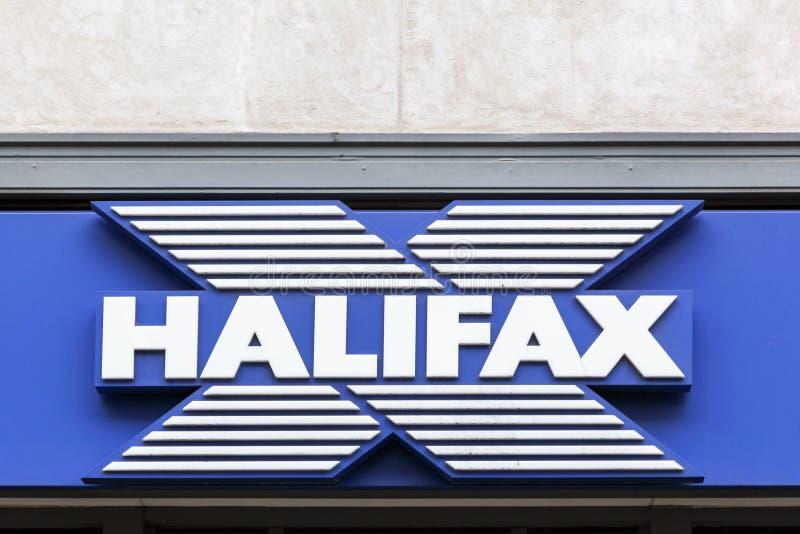 Halifax-Logo auf einer Wand lizenzfreies stockbild